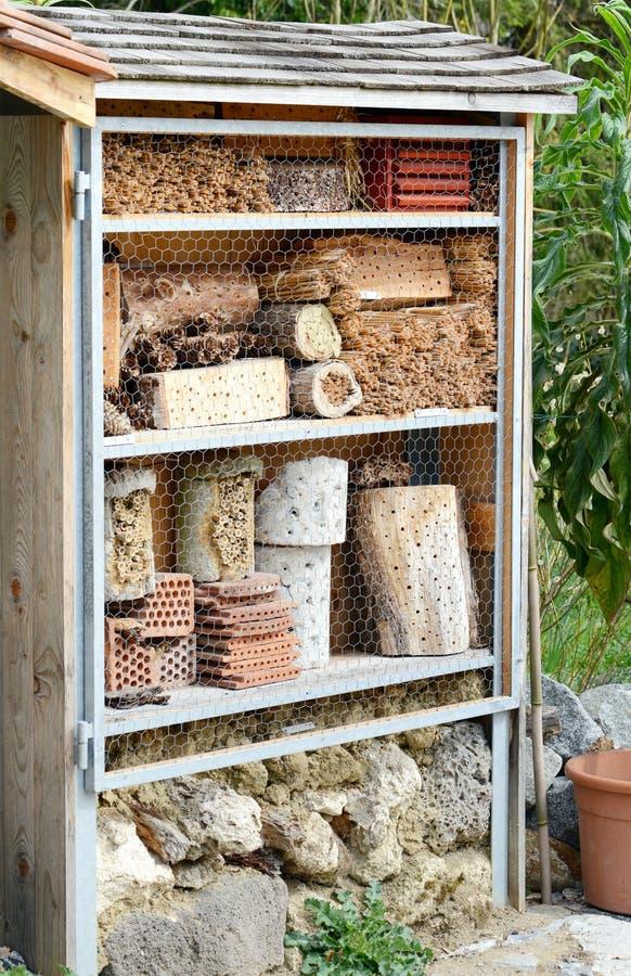 野生孤零零蜂和其他昆虫的昆虫旅馆 库存照片