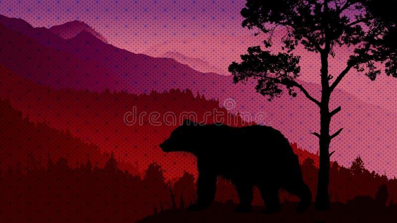 野生生物风景夜 向量例证