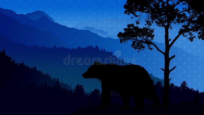 野生生物风景夜 库存例证