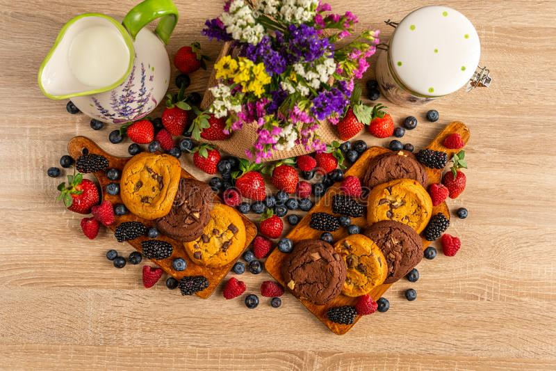 野生莓果、棕色曲奇饼、牛奶和花的五颜六色的被分类的混合 免版税库存图片