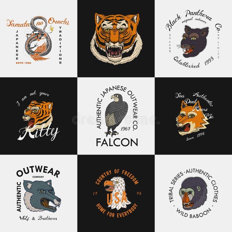 野生葡萄酒动物 T恤杉的商标 亚洲老虎,中国龙,豹,狐狸,猎鹰,猴子 翻译名字 向量例证