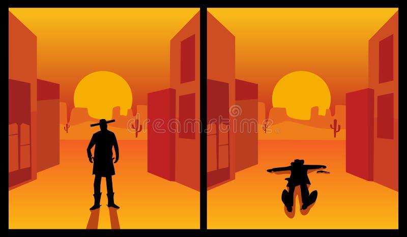 野生西部枪手 背景城市和沙漠 平的颜色 皇族释放例证