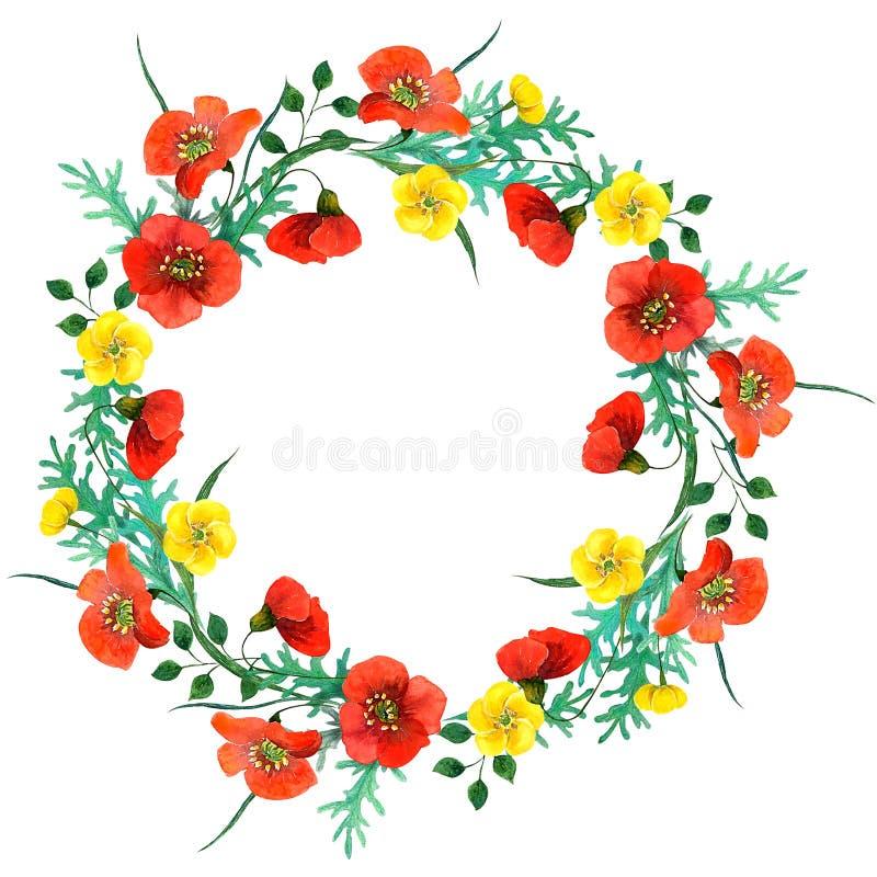 野花与鸦片的水彩构成 皇族释放例证