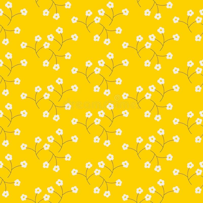 野花光招标白色春天领域无缝的样式 皇族释放例证