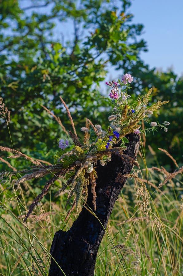 野花和草本树干被烧焦的树花圈  为伊冯Kupala的庆祝做准备礼拜式  免版税库存图片