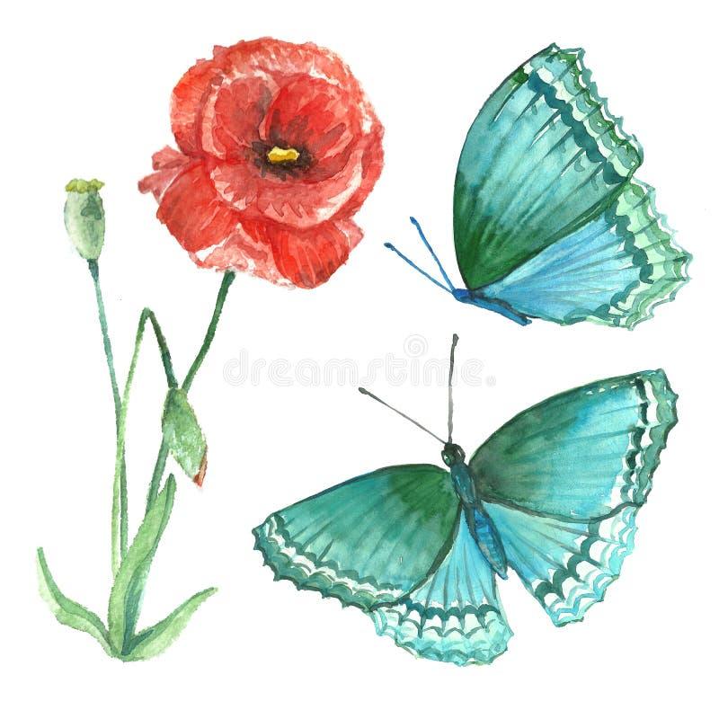 野花和蝴蝶的丙烯酸酯的图象在一白色backgrou 库存例证