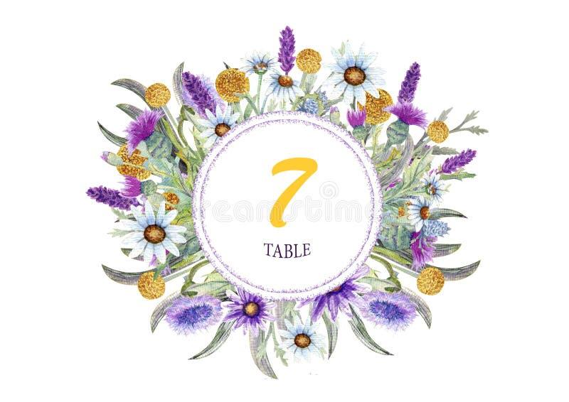 野花婚姻的圆的框架  水彩 花的布置 贺卡模板设计 邀请 库存例证
