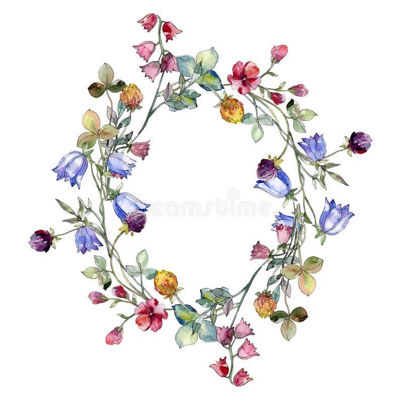 野花打印花卉植物的花 水彩背景例证集合 框架边界装饰品正方形 向量例证