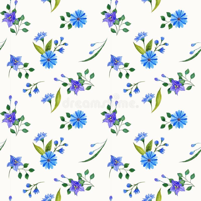 野花水彩构成 无缝的模式 库存例证