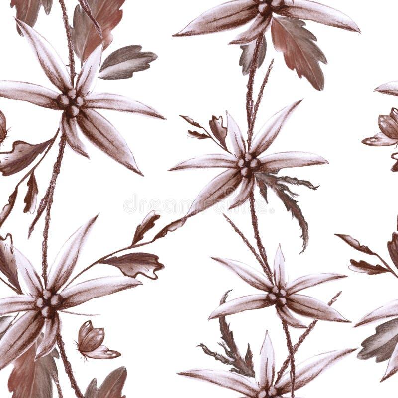 野花背景  无缝的模式 库存例证