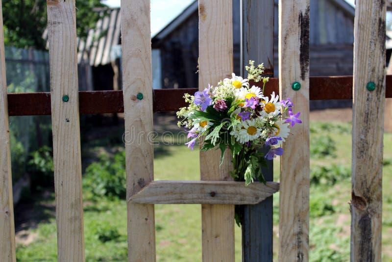 野花花束被卷起在篱芭的委员会之间 库存图片