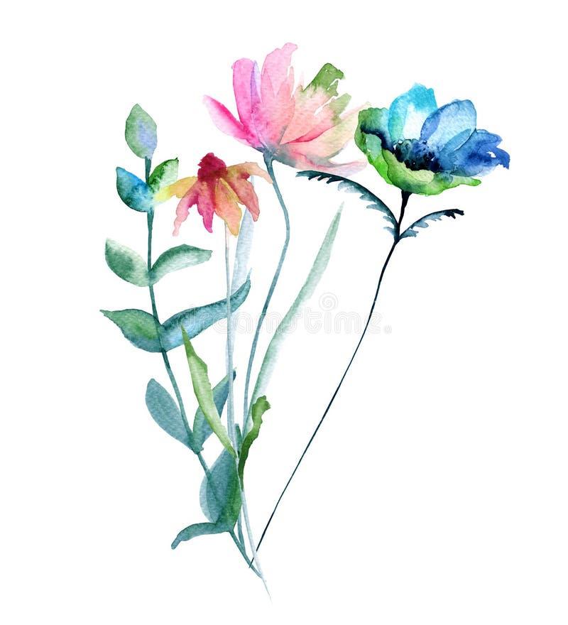 野花花束 背景查出的白色 向量例证