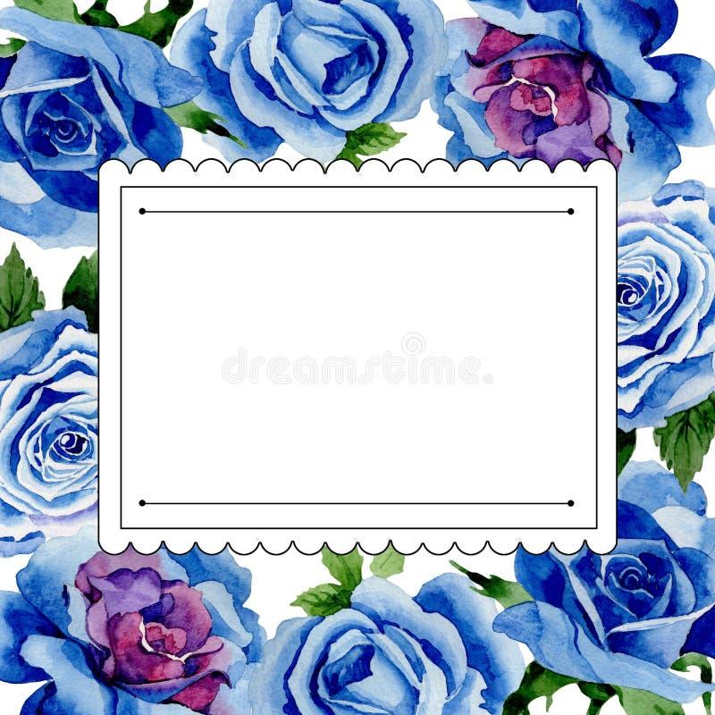野花蓝色玫瑰在水彩样式的花框架 向量例证