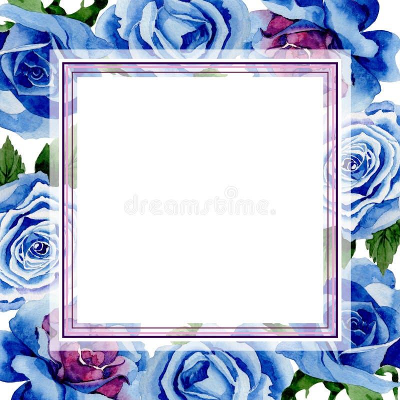 野花蓝色玫瑰在水彩样式的花框架 库存例证