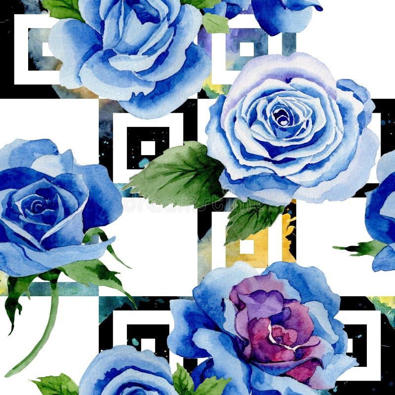 野花蓝色玫瑰在水彩样式的花纹花样 皇族释放例证