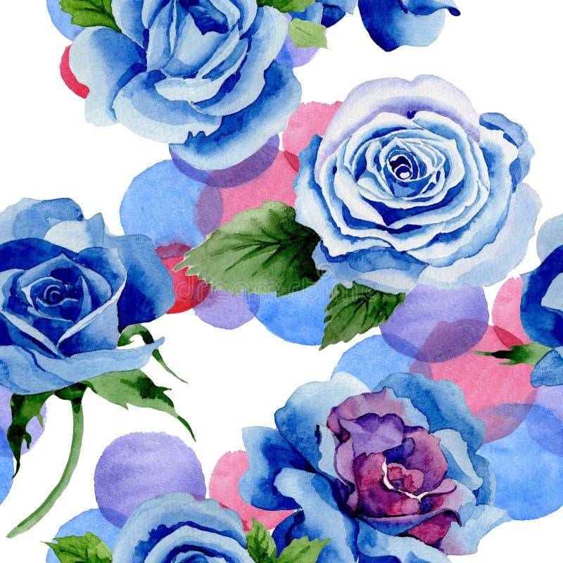 野花蓝色玫瑰在水彩样式的花纹花样 库存例证