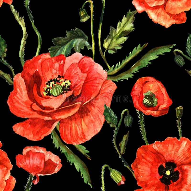 野花鸦片在水彩样式的花纹花样被隔绝的 图库摄影