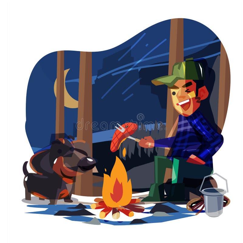 野营与他的狗的愉快的人在密林夜 最好的朋友永远或假日概念传染媒介 皇族释放例证