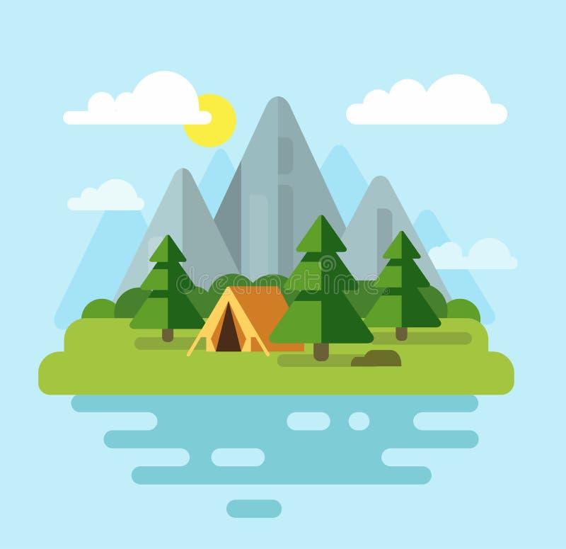 野营与山和森林 向量例证