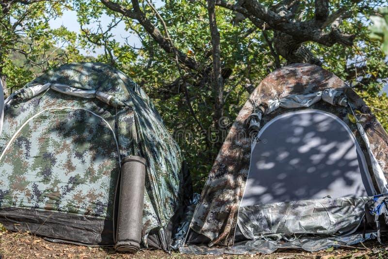 野营与帐篷 免版税库存图片
