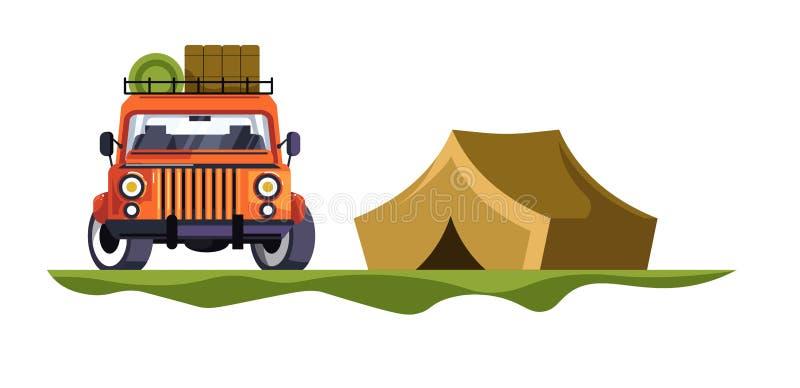 野营和有行李帐篷旅行和自然的吉普汽车 皇族释放例证