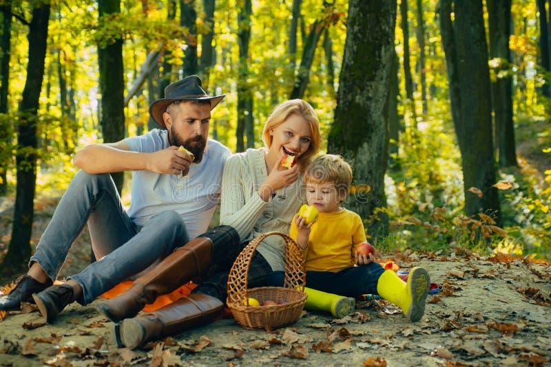 野营在公园和吃苹果的秋天家庭 活跃人和幸福家庭概念 户外 秋天野营 免版税库存照片