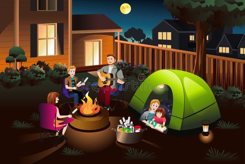 野营在后院的家庭 向量例证