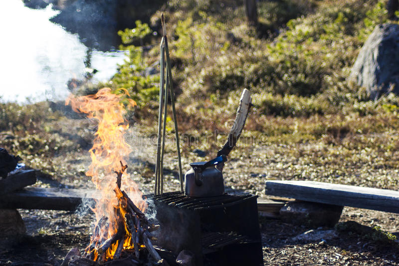 野营在拉普兰 免版税库存图片