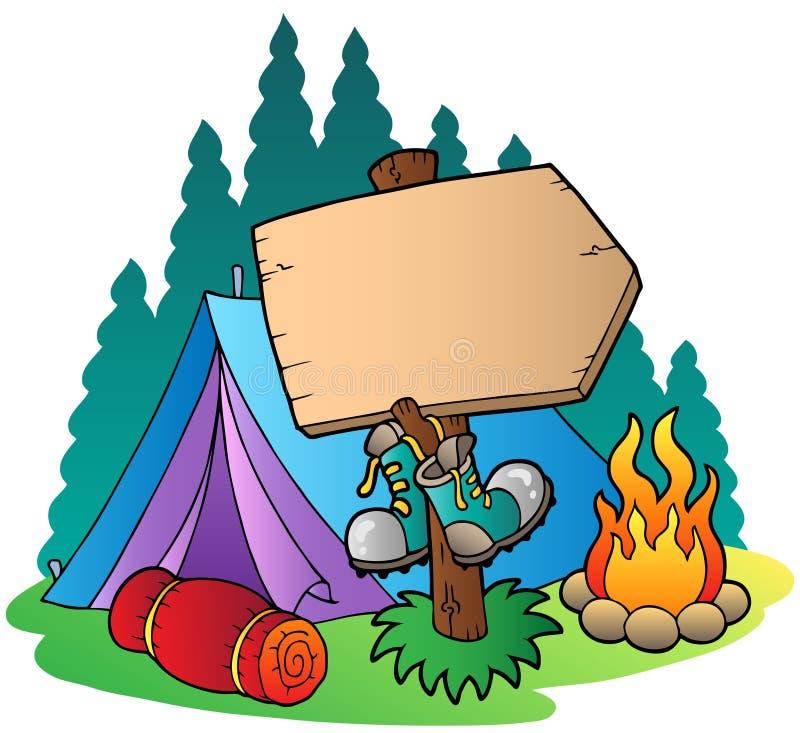 野营在木符号的帐篷附近 向量例证