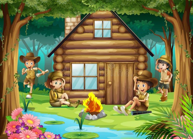 野营在森林的男孩和女孩 库存例证