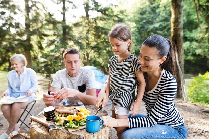 野营在森林里的美丽的家庭,一起吃 免版税图库摄影