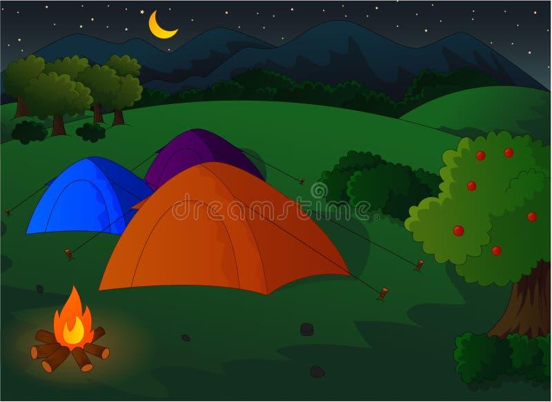 野营在草甸在晚上 库存例证