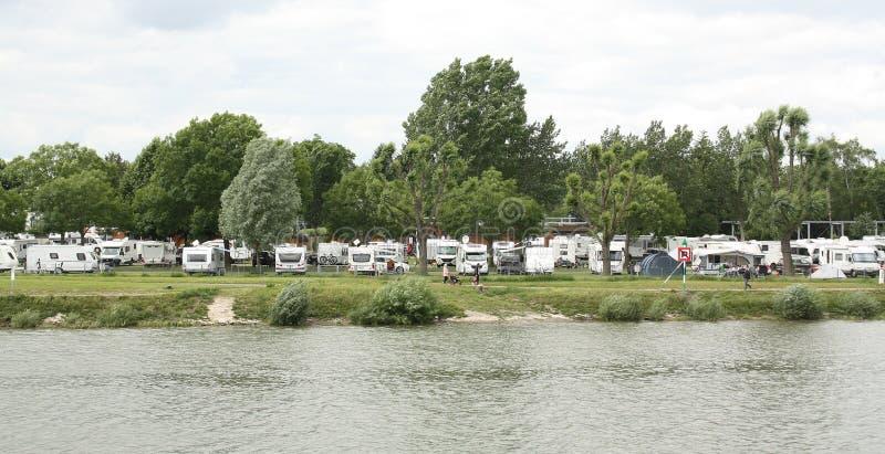 野营在莱茵河 科布伦茨 库存图片