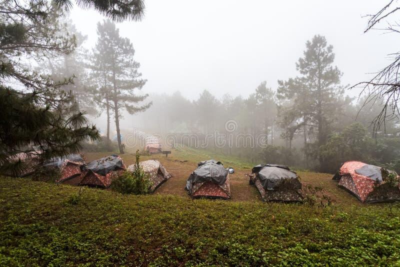 野营在薄雾海的圆顶帐篷在泰国 免版税库存图片