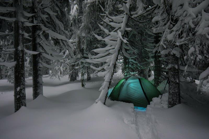 野营夜的射击,长的曝光,睡觉在雪外部 在山的夜露营 背景圣诞节关闭红色时间 免版税库存照片