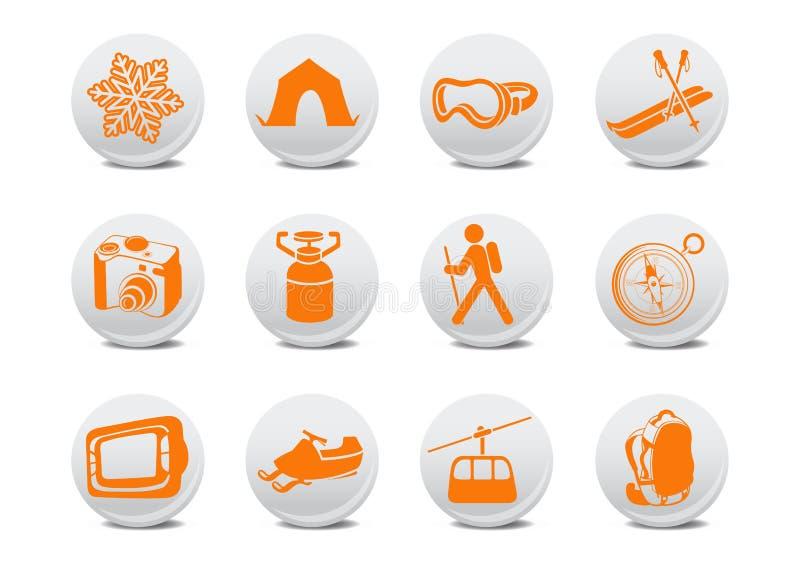 野营或滑雪按钮 库存例证