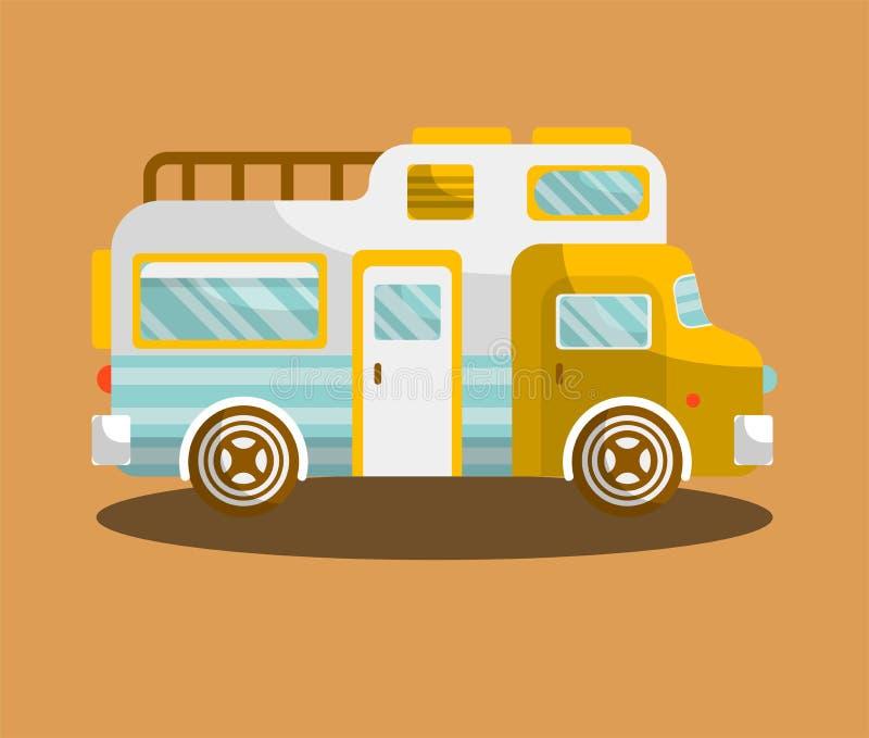 野营的公共汽车或露营者货车motorhome汽车或车 向量例证