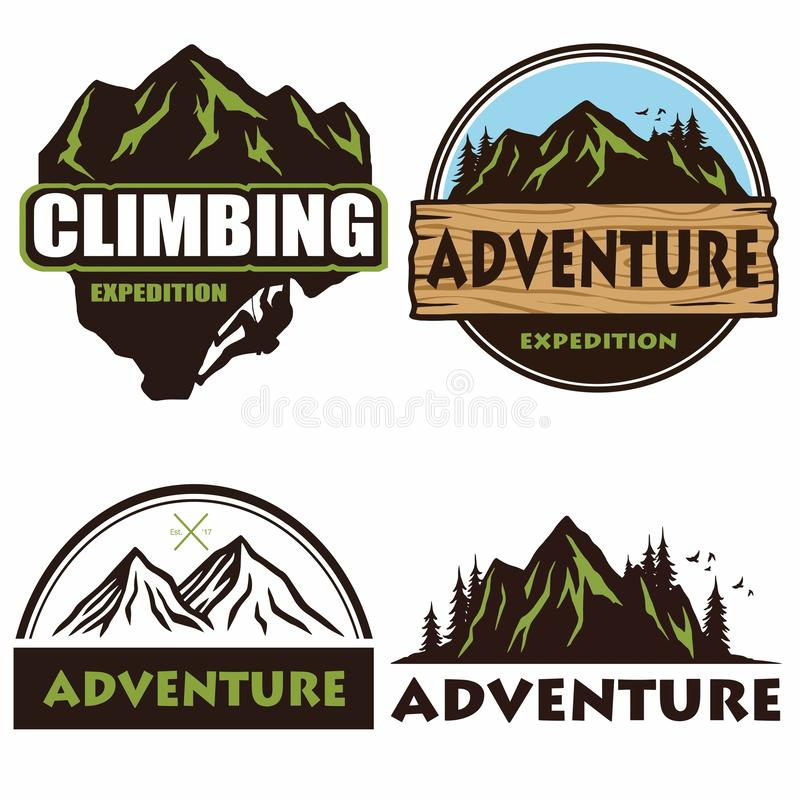 野营的商标布景、模板、室外冒险、山和森林远征 葡萄酒象征和徽章传染媒介Illustr 库存例证