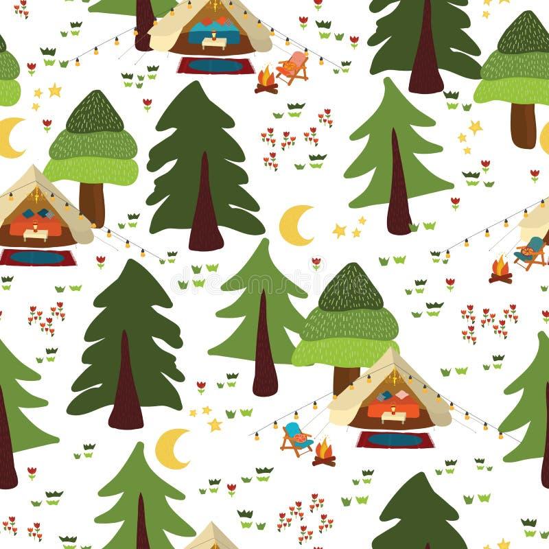 野营的室外场面无缝的传染媒介背景 Glamping样式 Boho帐篷在林木的晚上,营火,假期 向量例证