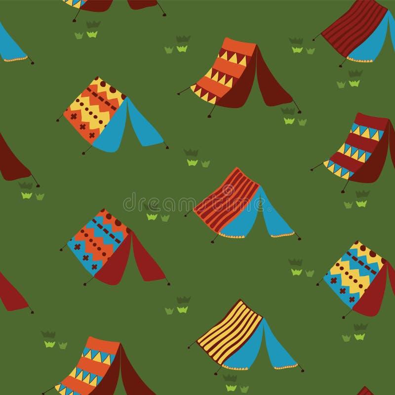 野营的帐篷无缝的传染媒介样式背景 皇族释放例证