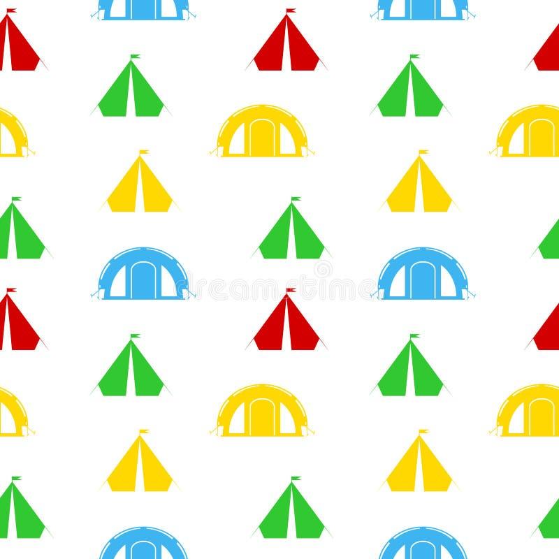 野营的帐篷无缝的样式 皇族释放例证