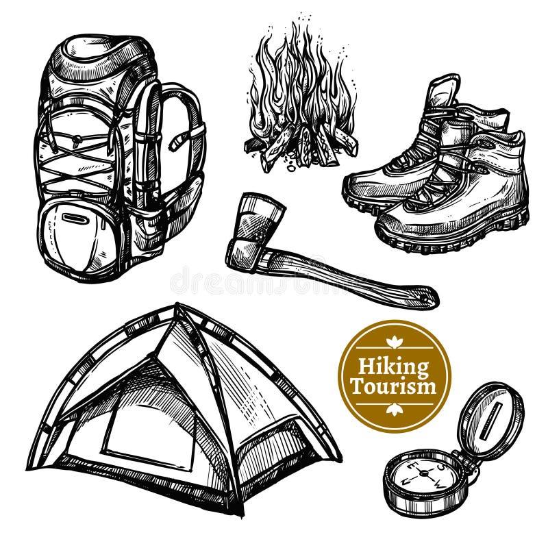 野营的旅游业远足剪影集合 向量例证