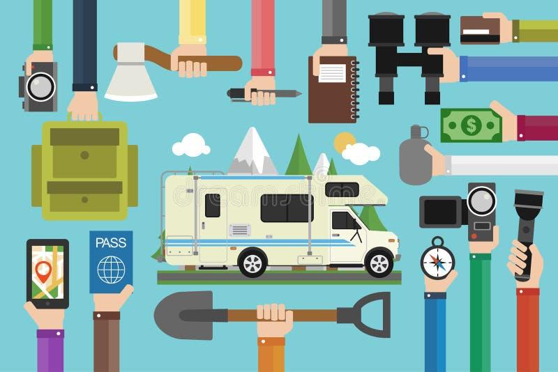 野营的旅行构思设计平展与露营车,拖车 向量例证