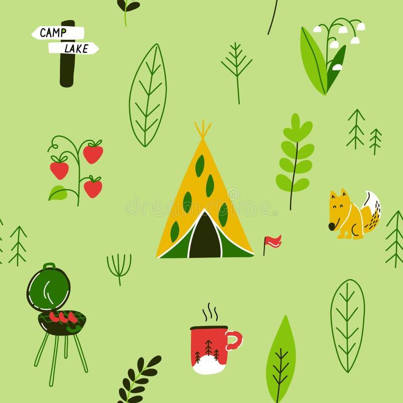 露营无缝图案 手绘露营和远足元素 贴满传单和海报的可爱背景 矢量动画 库存例证
