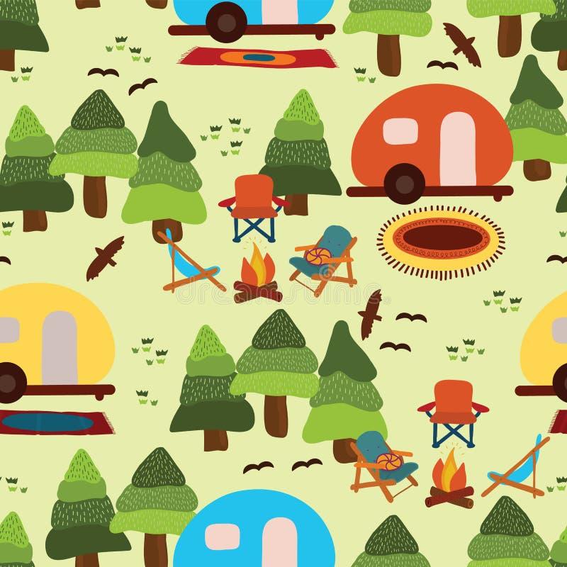 野营的有蓬卡车无缝的传染媒介样式瓦片 库存例证