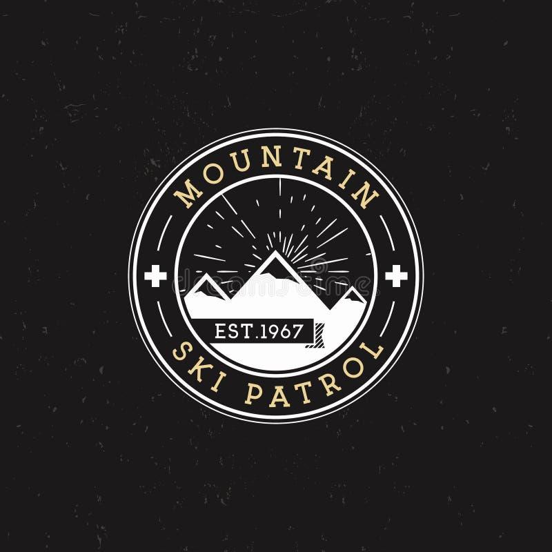 野营的标签 葡萄酒山滑雪巡逻圆的补丁 室外冒险商标设计 减速火箭的旅行和行家颜色 库存例证