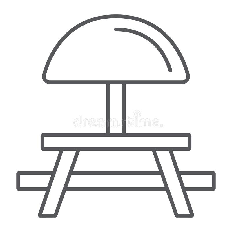 野营的桌稀薄的线象,家具和旅行,野餐桌标志,向量图形,在白色的一个线性样式 库存例证