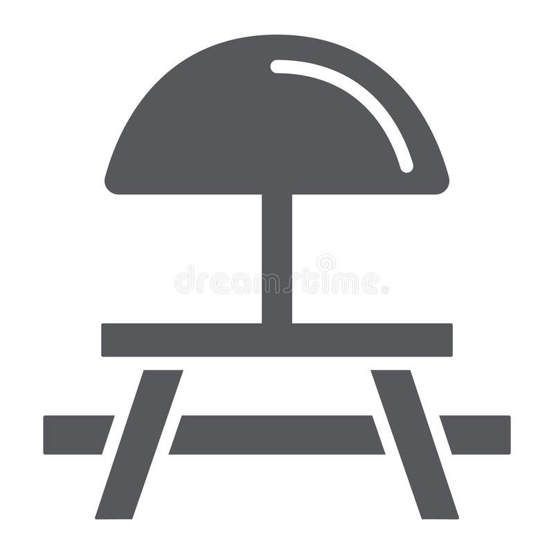 野营的桌纵的沟纹象、家具和旅行,野餐桌标志,向量图形,在白色的一个坚实样式 向量例证