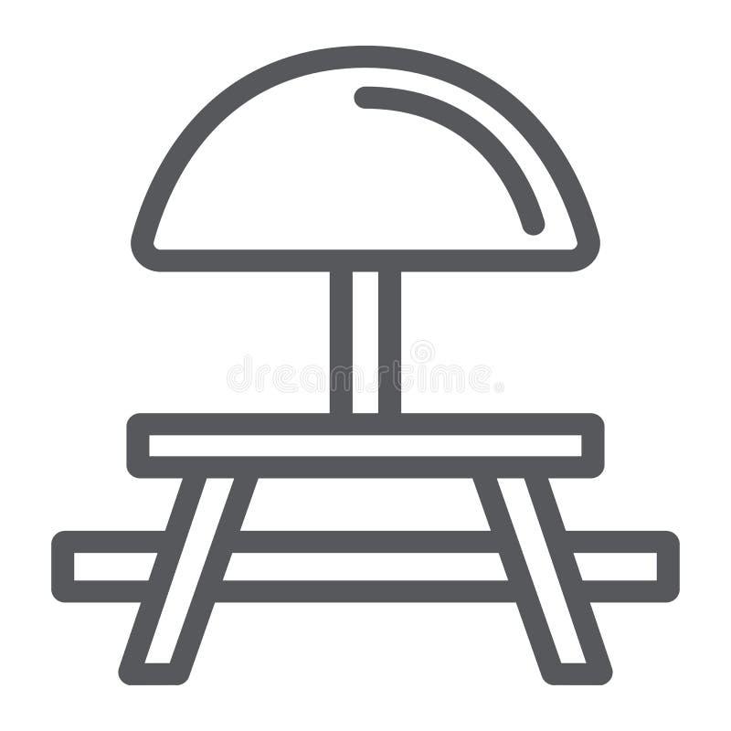 野营的桌线象,家具和旅行,野餐桌标志,向量图形,在白色的一个线性样式 向量例证