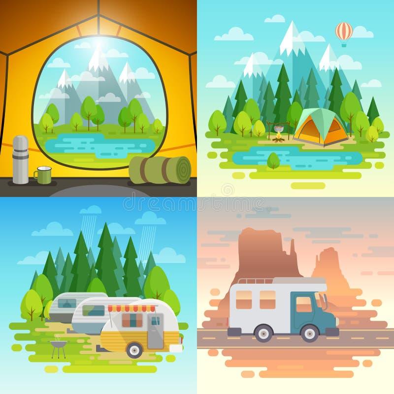 野营的概念,帐篷,有蓬卡车, weels的房子 向量例证